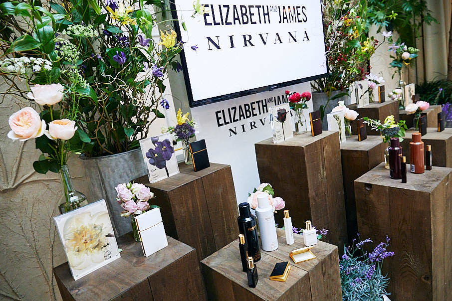 Elizabeth and James Nirvana Fragrance Launch room set up