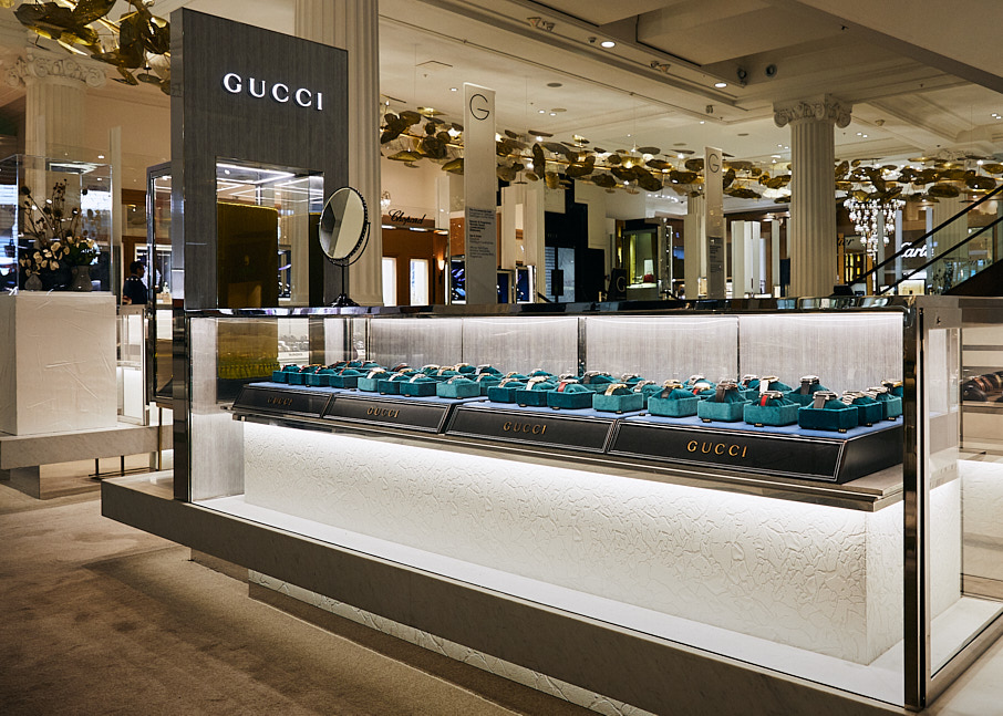 Gucci watches display case, Selfridges department store