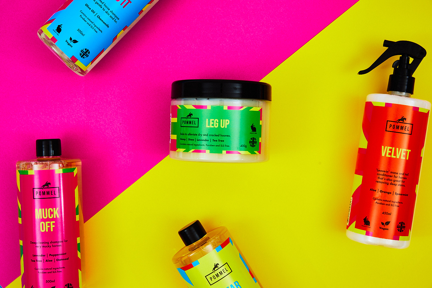 Fun products on bright background