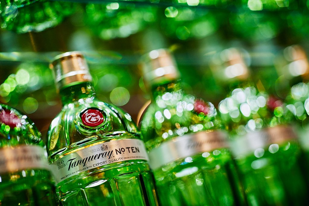 close up of Tanqueray gin bottles